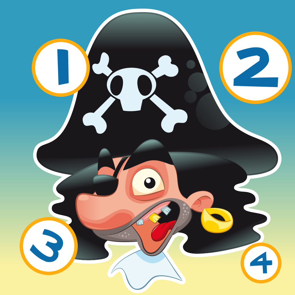 Pirate counting game for children: Learn to count the numbers 1-10 with the pirates of the ocean